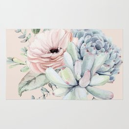 Elegant Blush Pink Succulent Garden by Nature Magick Rug