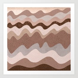 Blush Brown Abstract Waves Art Print