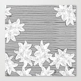 line art flowers on stripes Canvas Print