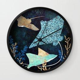 Metallic Stingray II Wall Clock