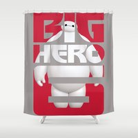 big hero 6 Shower Curtains featuring Baymax - Big Hero 6 by Nguyen