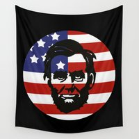 lincoln Wall Tapestries featuring Abe Lincoln by Maenia
