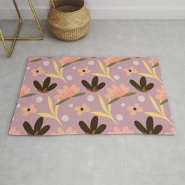 Colorful floral Cut Out Flowers and Leaves fabric Purple Rug