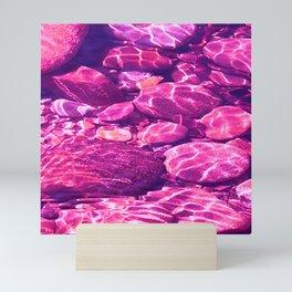 Reflections on the rocks Mini Art Print