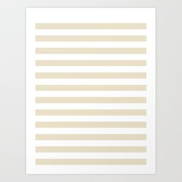 Narrow Horizontal Stripes - White and Pearl Brown Art Print
