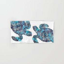 Sea Turtle Blue Watercolor Art Hand & Bath Towel