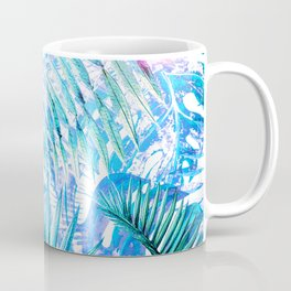 Aloha - Blue abstract Tropical Palm Leaves and Monstera Leaf Garden Coffee Mug