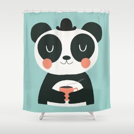 Panda Loves Coffee Shower Curtain