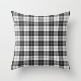 Clan Erskine Tartan // Black & White Throw Pillow