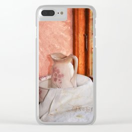Good morning- vintage pitcher and wash bowl Clear iPhone Case