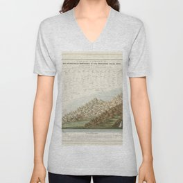 Vintage Print - Comparison Chart of the Main Mountains and Rivers in Haute-Loire (1871) Unisex V-Neck