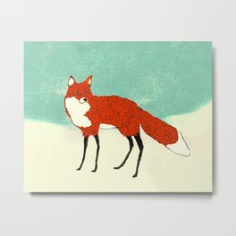 Fox in the snow, Kitsune, Vintage inspired illustration Metal Print