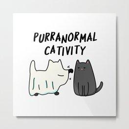 Purr-anormal Cativity Cute Halloween Cat Pun Metal Print