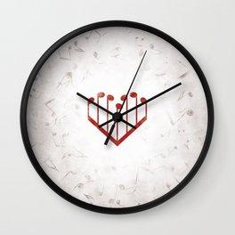 Music Heart gray Wall Clock
