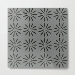 Abstract Dotted Flowers Pattern Grey Metal Print