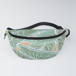 Tropical Caladium Leaves Pattern - Green Fanny Pack