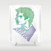 stiles stilinski Shower Curtains featuring Watercolor Stiles by Liz Swezey