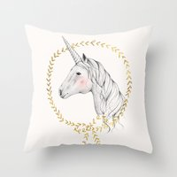 unicorn Throw Pillows featuring Unicorn by Kelli Murray