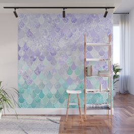 Mermaid Iridescent Purple and Teal Pattern Wall Mural