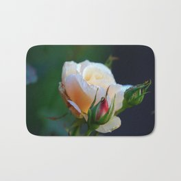 Blossoming Young and Tender Cream-Colored Cream Rose Flower Bath Mat
