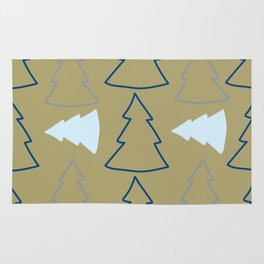 Blue and Silver Trees Rug