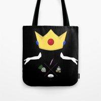 princess peach Tote Bags featuring Peach by Logan David