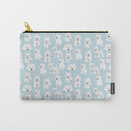 Westies on Light Blue Carry-All Pouch