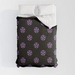 Purple Pentacle Pattern on Black Comforters