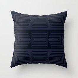 Bicolor Geometric III Dark Blues Throw Pillow