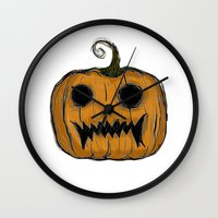 pumpkin Wall Clocks featuring Pumpkin by Michelle Wenz