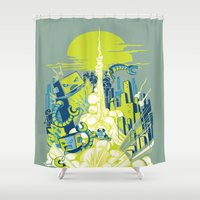 megaman Shower Curtains featuring Smash! Zap!! Zooom!! - Annoying Kidd by Marco Angeles