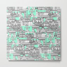Paris toile aquamarine Metal Print