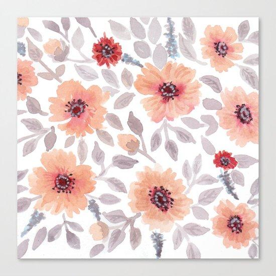 Watercolor . Salmon flowers . Canvas Print
