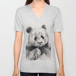 Panda black white Unisex V-Neck