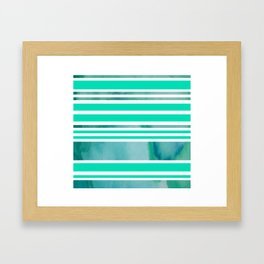 Shades of Green Modern Stripes Framed Art Print