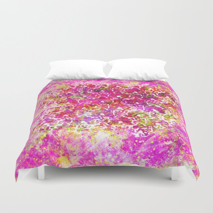 Fuchsia Watercolor Abstract Painting Boho Style Arabesque Duvet Cover