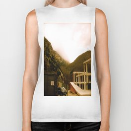Stand here with the mountain in background Biker Tank