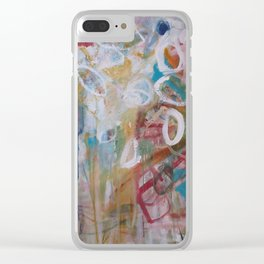 Playing in the Garden - Abstract Modern Contemporary Flowers Clear iPhone Case