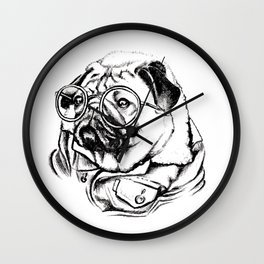 Stylish pug wearing round glasses and a denim jacket Wall Clock