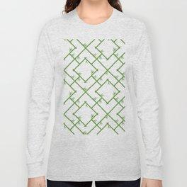 Bamboo Chinoiserie Lattice in White + Green Long Sleeve T-shirt