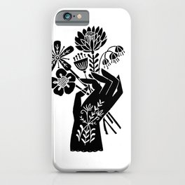Linocut black and white hand holding flowers art printmaking design iPhone Case