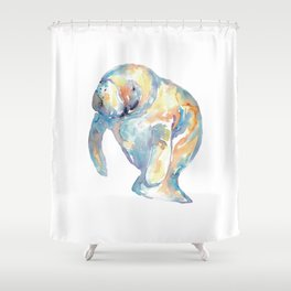 Manatee watercolor painting Shower Curtain