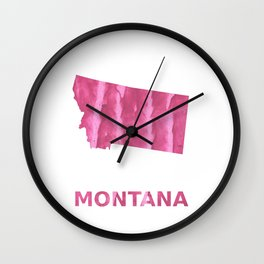 Montana map outline Pale violet red blurred wash drawing Wall Clock