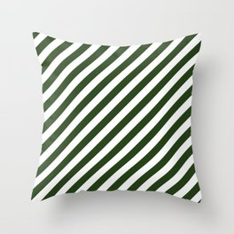 Large Dark Forest Green and White Candy Cane Stripes Throw Pillow