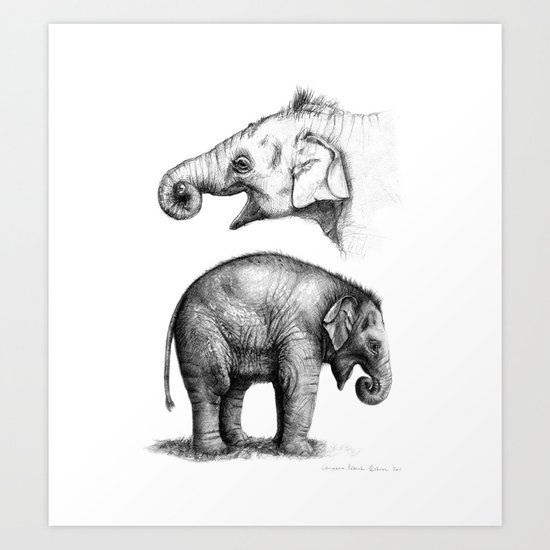 Baby Elephant study G2011-008c Art Print