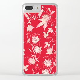 Festive Christmas Bright Red Passion Flowers Clear iPhone Case