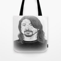 dave grohl Tote Bags featuring Dave Grohl , Portrait Art by N_T_STEELART