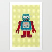 50s Art Prints featuring whirr 50s retro robot by blossyfloss
