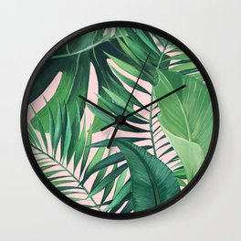 JUNGLE PALM PRINT BLUSH Wall Clock