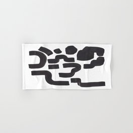 Colorful Minimalist Mid Century Modern Black White Tribal Ink Cave Abstract Shapes Hand & Bath Towel